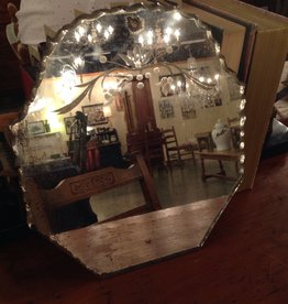Mirror, antique, small, beveled, floral etched