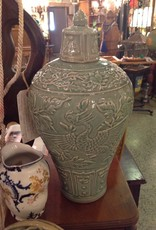 Vase, celadon, wine jar, green, Oriental, lidded, BIRD DESIGN
