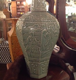 Vase, celadon, wine jar, green, Oriental, lidded, FIGURAL DESIGN