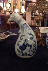 Bottle, ceramic, jug, bird, stylized, Oriental, blue white, vintage