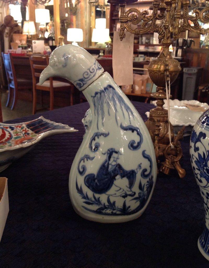 Bottle, ceramic, jug, bird, stylized, Oriental, blue white, vintage