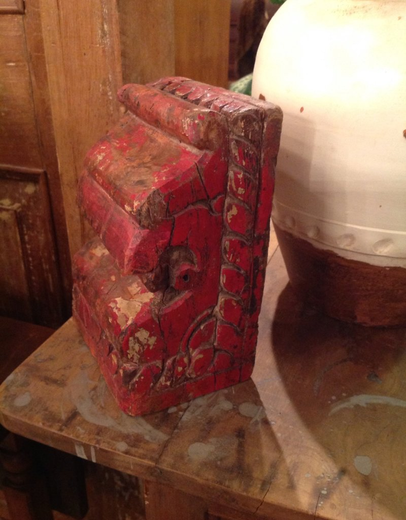 Corbel, wooden, red, painted, small