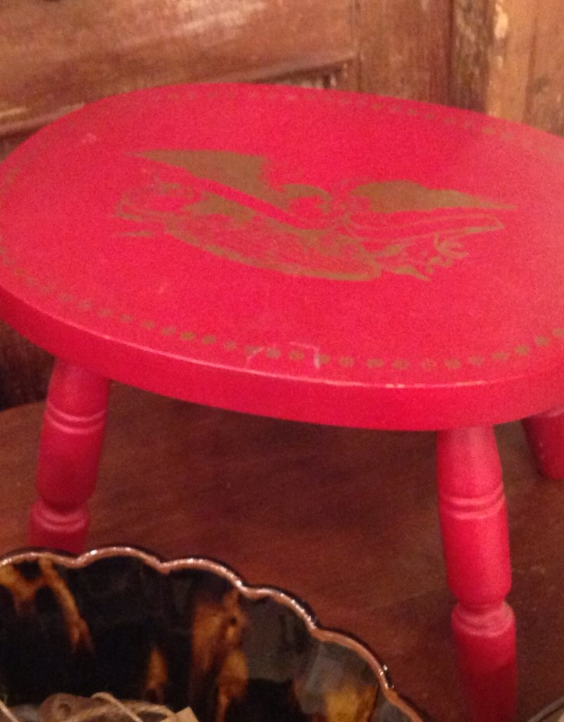Stool, wooden, red, painted, small, with eagle