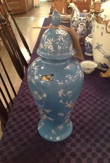 Urn, blue, with birds, white flowers, painted, ceramic