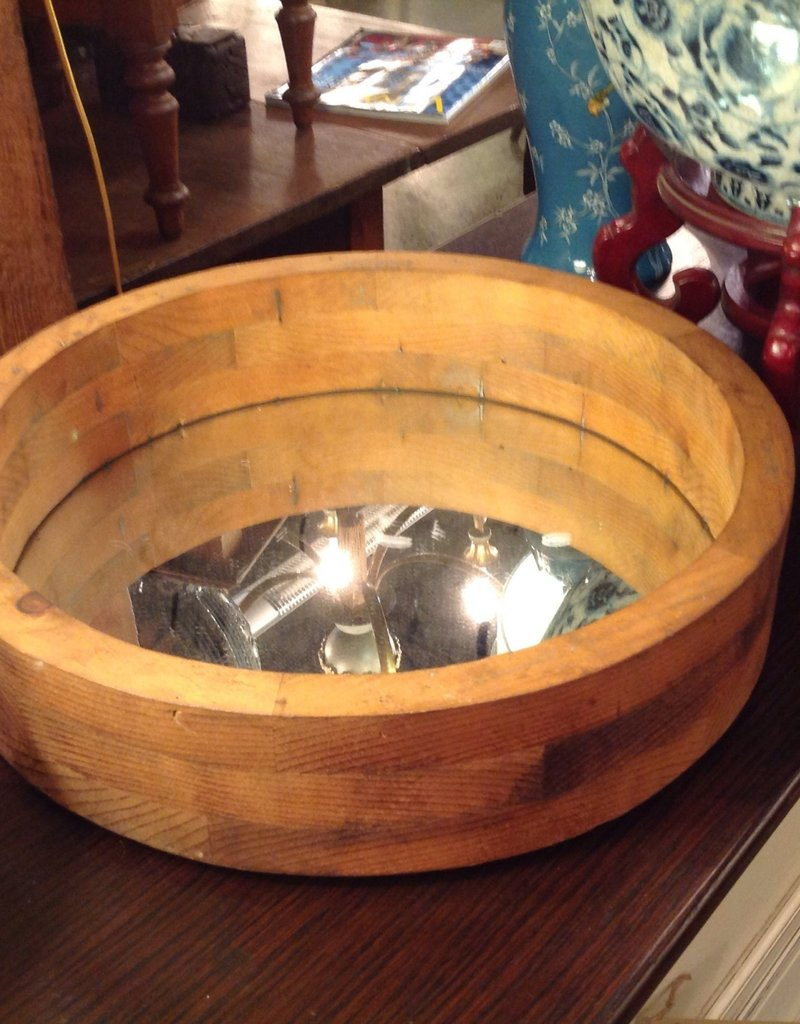 Mirror, round, wooden foundry mold frame
