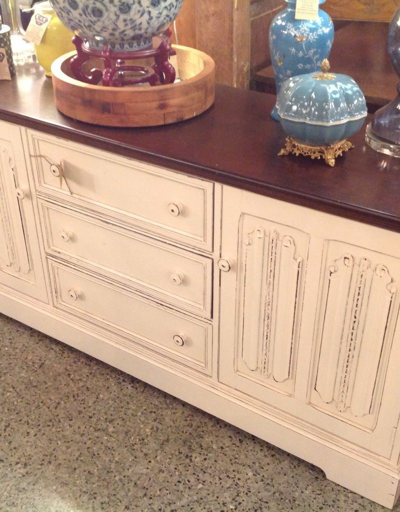 Console, English, Vintage, Carved Scroll, Repainted