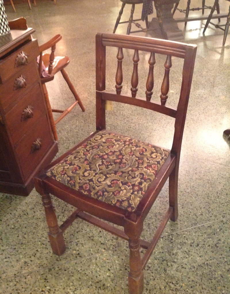 Chair, wooden, upholstered seat, turned legs