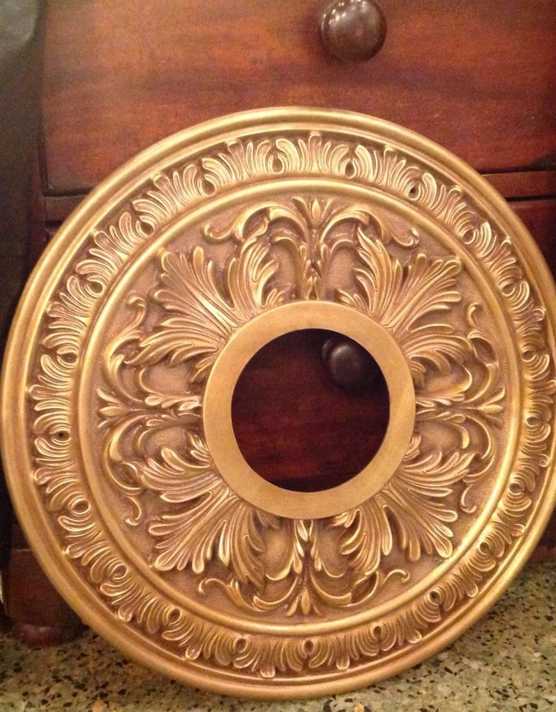 Medallion, ceiling, brass, vintage, floral design,