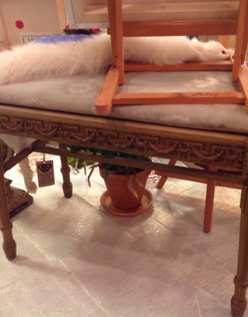 Bench, piano, antique, painted, upholstered