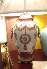 Lamp, ceramic vase, painted floral design, brass lion head handles