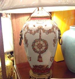 Lamp, ceramic vase, painted floral design, brass lion head handles