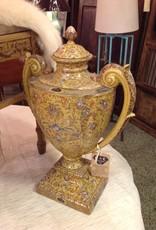 Jar, large, lidded, yellow, ceramic, double handle