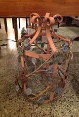 Lantern frame, metal, painted, floral, vintage