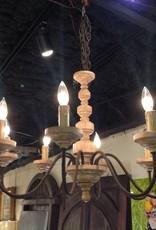 Chandelier, wooden, eight light
