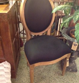 Chair, wooden, black, upholstered, oval back