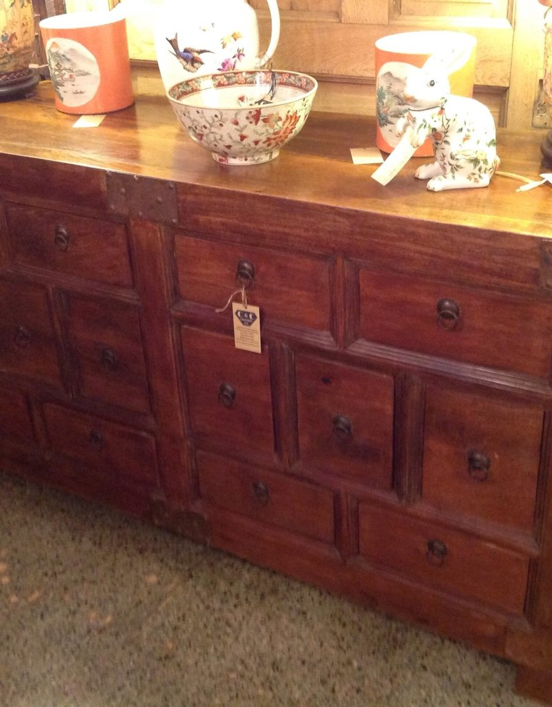 Cabinet, Vendors, vintage, wooden, fourteen drawer