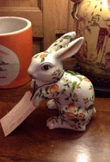 Rabbit, ceramic, painted, floral