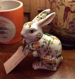 Rabbit, ceramic, painted, floral
