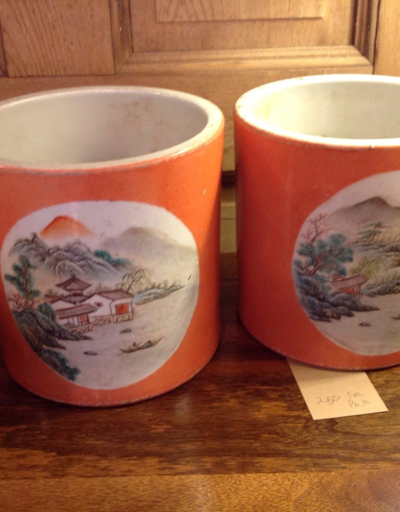 Jar, orange, oriental, landscape painting, pair