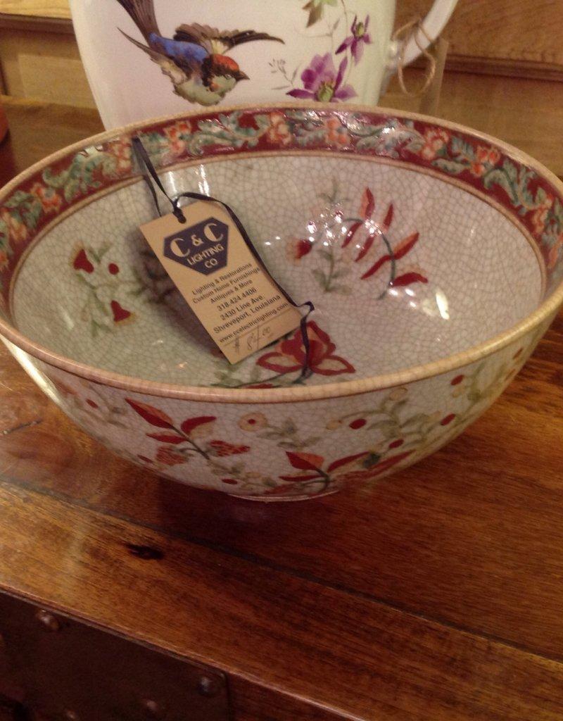 Bowl, fruit, ceramic, oriental, floral