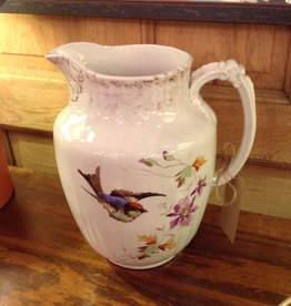 Jug, ceramic, painted, bird, floral, large, ironstone, John Edwards