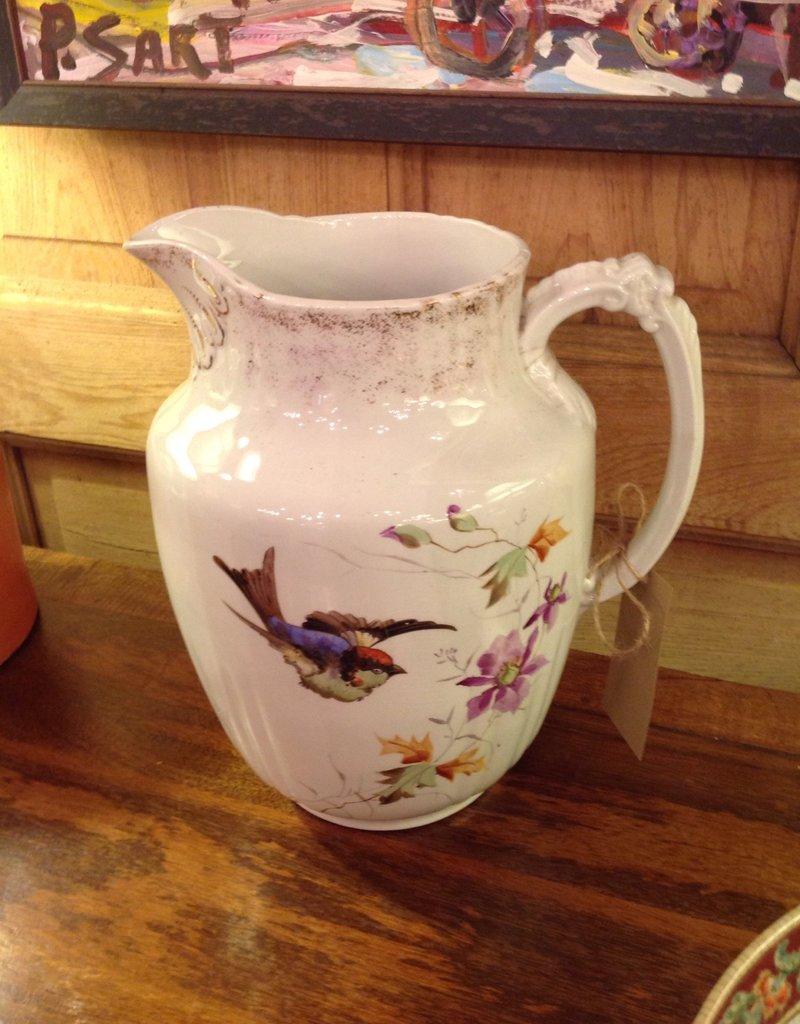 Jug, ceramic, painted, bird, floral, large, ironstone, John Edwards
