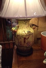 Lamp, table, ceramic, yellow, painted, raised, oriental, vintage