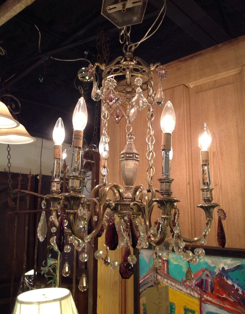 Chandelier, Hendi, crystal, vintage, six light, small,