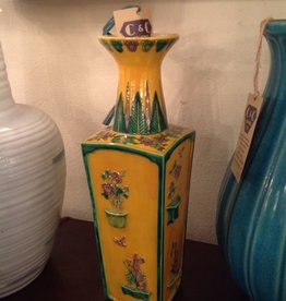 Vase, ceramic, yellow, green, rectangular, oriental, painted