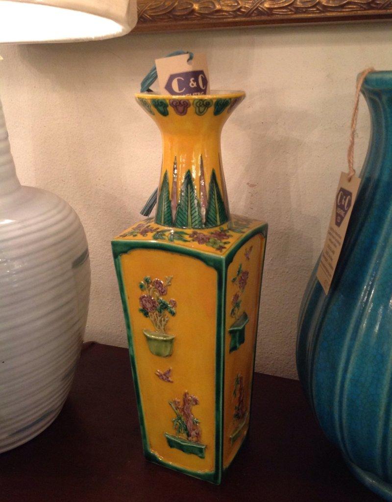 Vase, ceramic, yellow, green, rectangular, oriental, painted