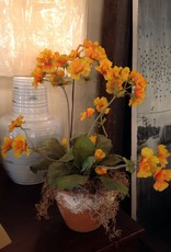 Flowers, artificial, in clay pot