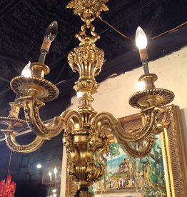 Chandelier, heavy brass, vintage, four light