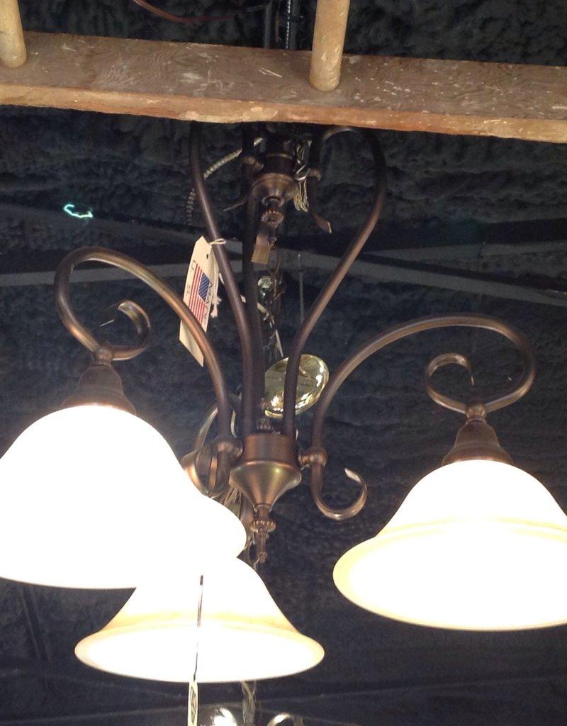 Chandelier, bronze finish, three light, modern