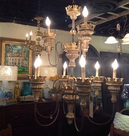 Chandelier, crown design, silver and gold painted finish, two tier, nine light, modern
