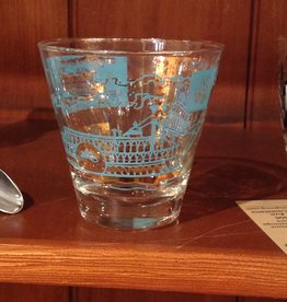 Glass, double, steamboat, paddle boat, vintage