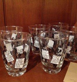 Glass Set, Mid-century Cordials, illustrated drink menus
