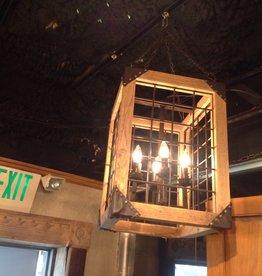 Lantern, wooden, iron, four light