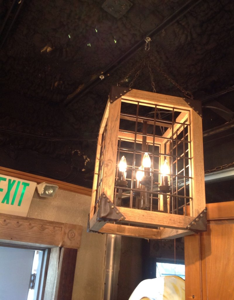 Lantern, wooden, iron, four light