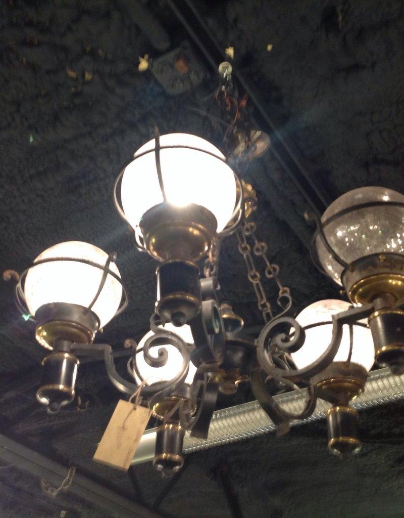 Chandelier, vintage, black, five light