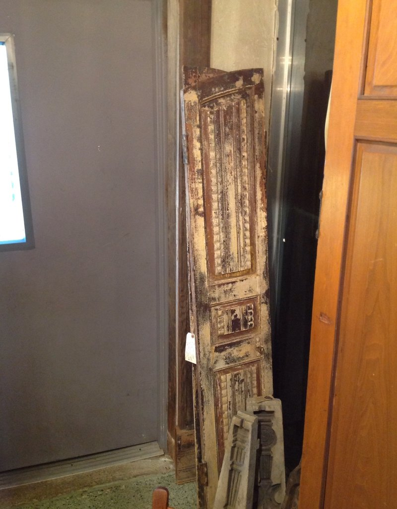 Door, antique, wood, arched, double, painted, white