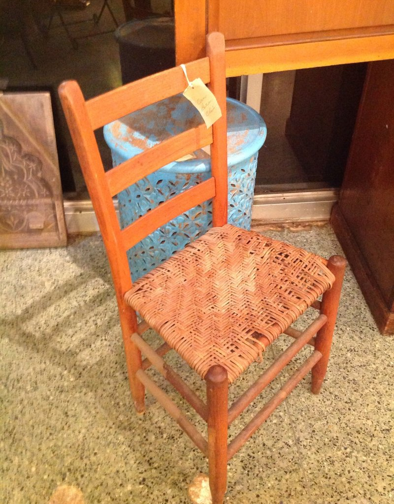 Chair, vintage, wood, cane