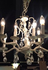 Chandelier, vintage, white, ten light, small, painted, crystal