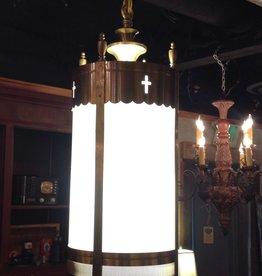 Light, church sanctuary chapel pendant, four light, vintage, brass, Plexiglass