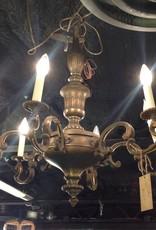 Chandelier, six light, vintage, brass