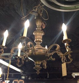 Chandelier, six light, vintage, brass