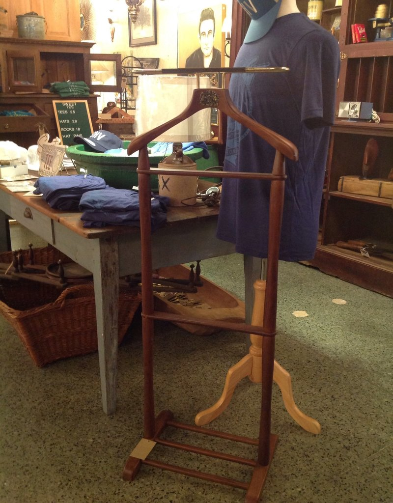 Valet, vintage, wooden, brass