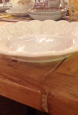 Bowl, shallow, Westmoreland, milk glass, grape motif