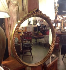 Mirror, round, framed, gold, vintage