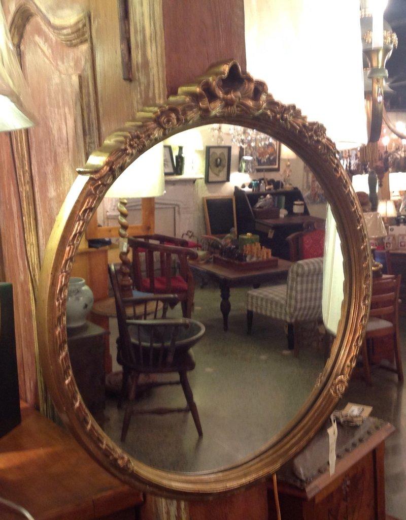 Mirror, round, framed, gold, vintage