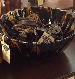 Bowl, large, glass, dark brown